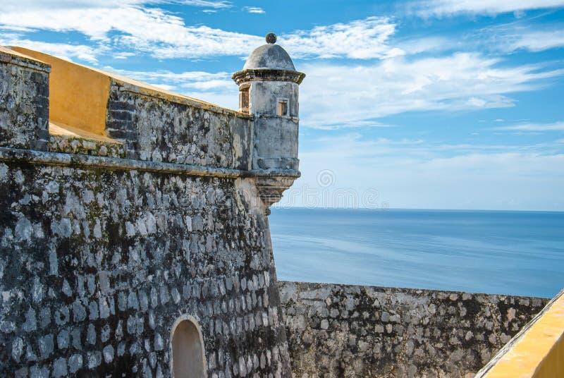 Fuerte de圣米哥舷墙在坎比其墨西哥 库存照片