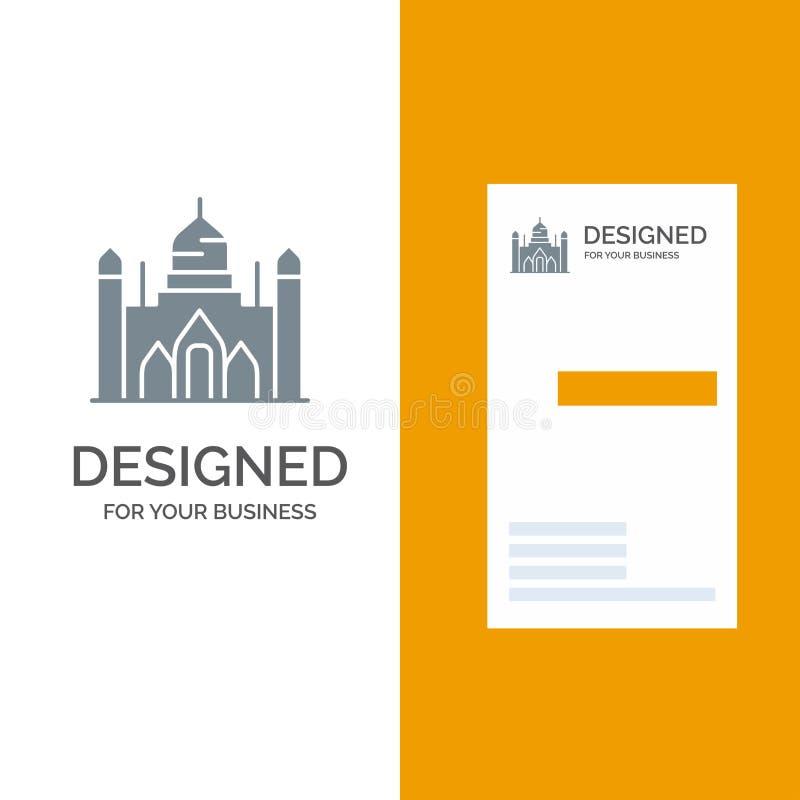 Fuerte de Aurangabad, Bangladesh, Dacca, Lalbagh Grey Logo Design y plantilla de la tarjeta de visita ilustración del vector