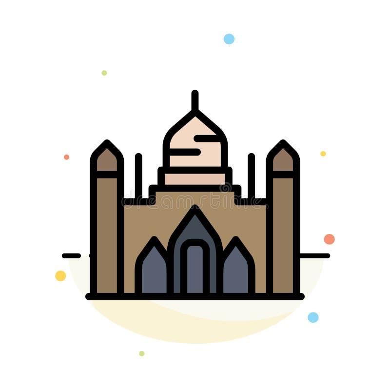 Fuerte de Aurangabad, Bangladesh, Dacca, plantilla plana del icono del color del extracto de Lalbagh ilustración del vector