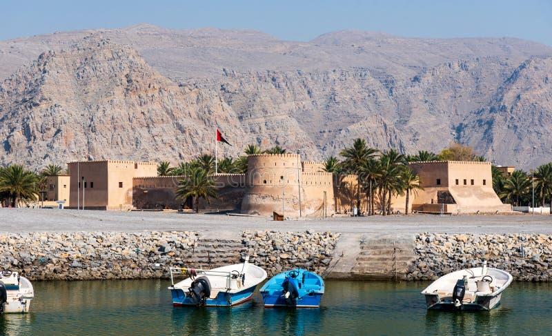 Fuerte de Khasab en el governorate de Musandam de Omán fotografía de archivo libre de regalías