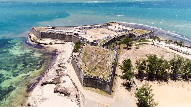 Fuerte San Sebastian Sao Sebastiao, isla Ilha de Mocambique, bahía de Mossuril de la costa del Océano Índico, provincia de Mozamb fotografía de archivo libre de regalías
