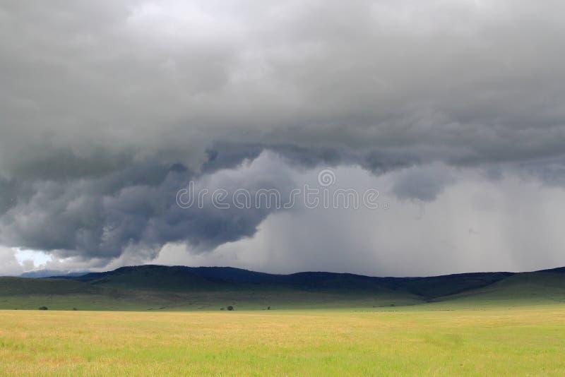 Fuertes lluvias que se acercan a la tierra seca del cráter de Ngorongoro imagen de archivo libre de regalías