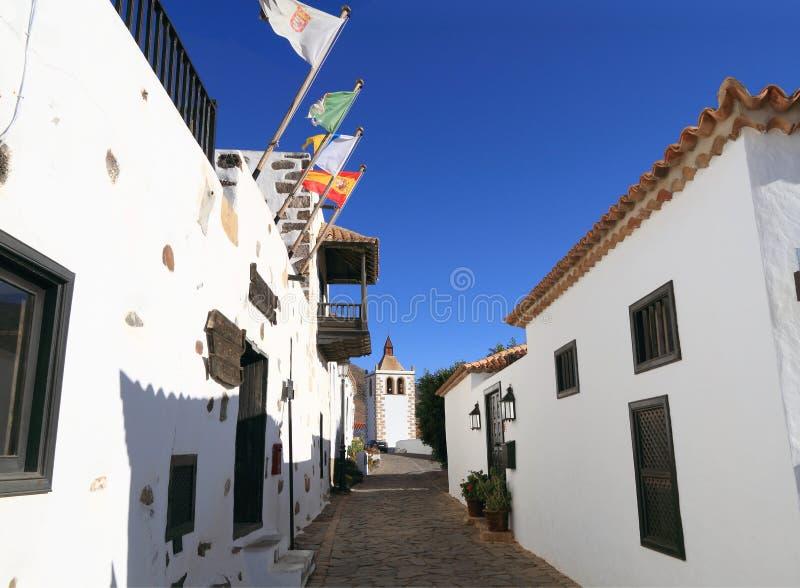 Fuerteventura, Betancuria: Weinig Straat in het Oude Kwart stock afbeelding