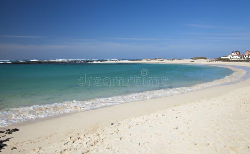 Fuerteventura, Canary Islands, Playa La Concha beach at El Cotillo village. Fuerteventura, Canary Islands, white sand Playa La Concha beach at El Cotillo village stock photos