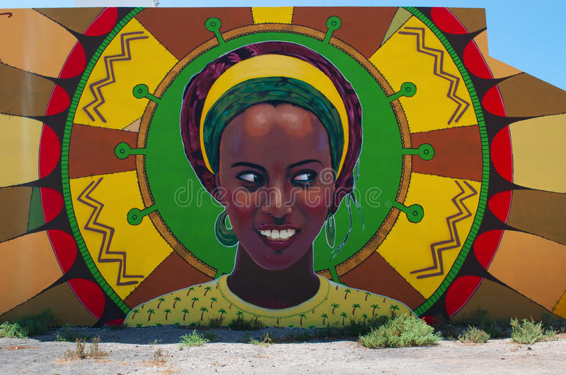 Fuerteventura, Canary Islands, Spain. A big murales in Matorral on September 11, 2016. Matorral is a little village near the island airport stock images