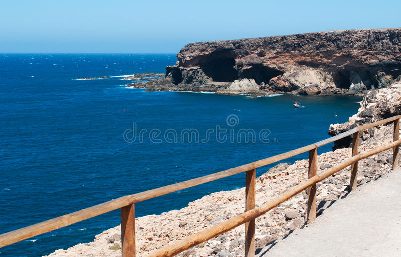 Fuerteventura, Canary Islands, Spain, Ajuy, caves. The caves of Ajuy seen from the walking path on September 9, 2016. Ajuy is a fishermen village on the west royalty free stock images