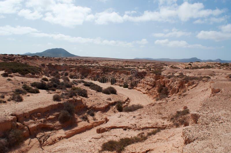 Fuerteventura, Canary Islands, Spain, desert, landscape, nature, sand, dunes, climate change, mountain, canyon. View of the Barranco de los Encantados on stock photo