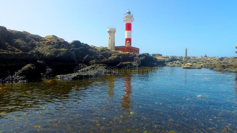 Fuerteventura, Ilhas Canárias: vista do farol de Toston, perto da aldeia piscatória do EL Cotillo imagem de stock royalty free