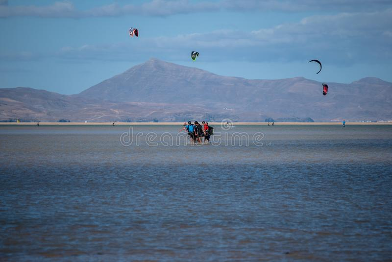 Fuerteventura, injured kite-surfer royalty free stock photos