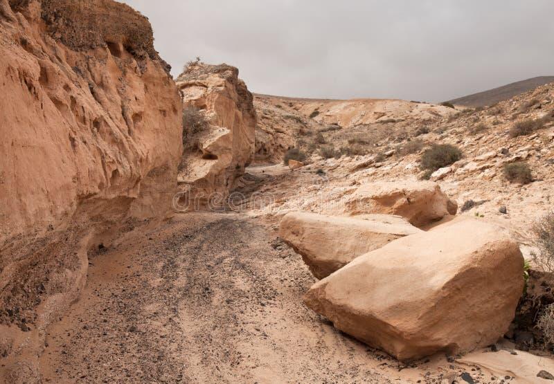 Fuerteventura intérieur du nord, barranco de los enamorados image libre de droits