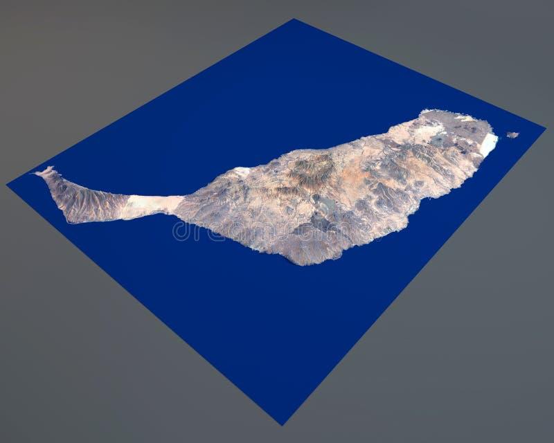 Fuerteventura island, satellite view, Canary Islands, Spain. 3d rendering royalty free illustration