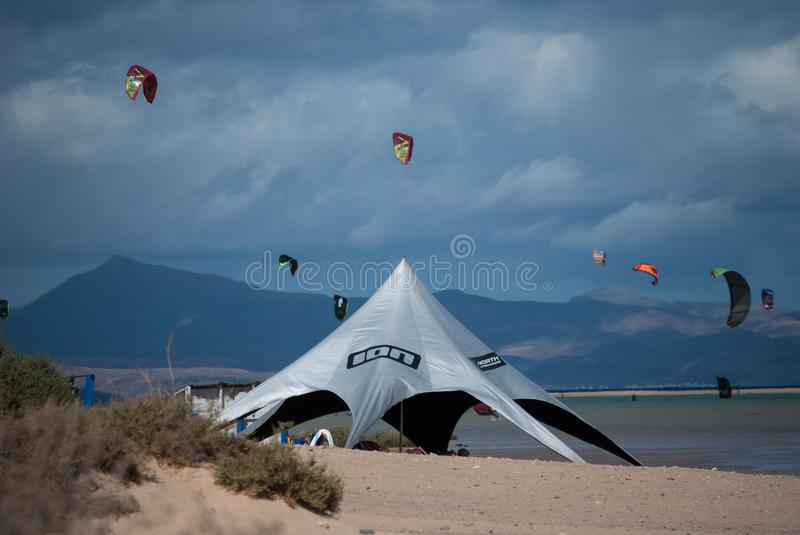 Fuerteventura, kite-surf school at Sotavento beach. stock photos