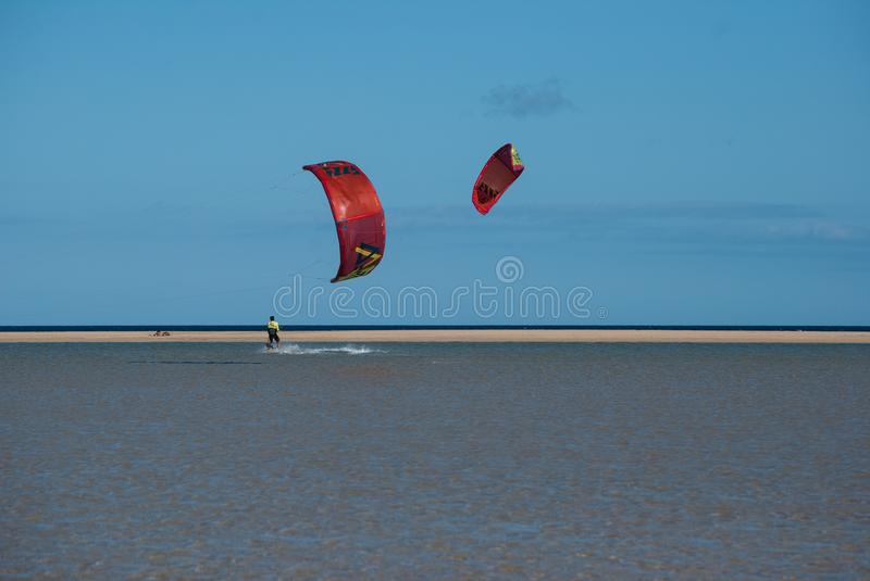 Fuerteventura, kites to the sun royalty free stock photo