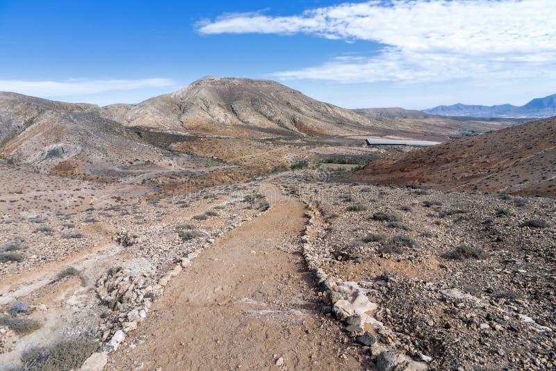 Fuerteventura - Pelgrimsmanier in het Cardon-massief royalty-vrije stock afbeeldingen