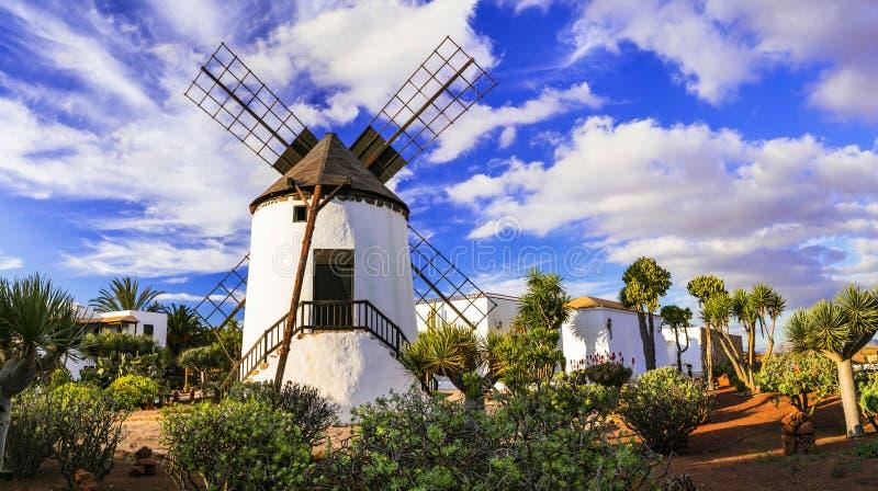 Fuerteventura - traditional windmill in Antigua village. Canary islands stock photo