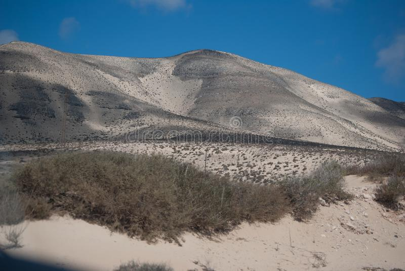 Fuerteventura, white sand mountains. stock photo