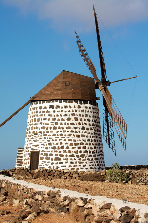 fuerteventura wyspy młynu stary wiatr fotografia stock