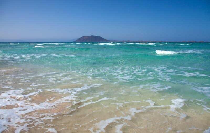 Fuertevenura du nord, plage de drapeau de Corralejo photographie stock libre de droits