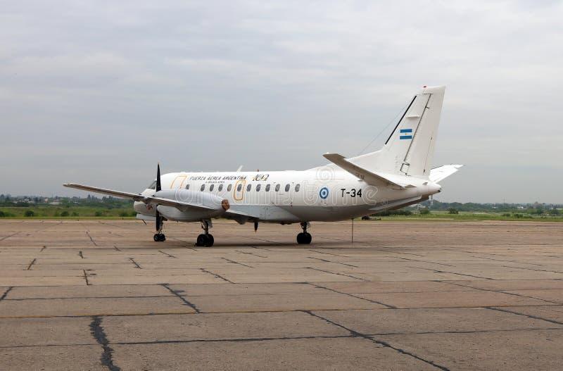 Fuerza aérea argentina del fron del aeroplano de SAAB en Palomar, la Argentina fotografía de archivo libre de regalías