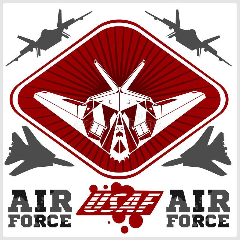 Fuerza aérea de los E.E.U.U. - los militares diseñan Vector stock de ilustración