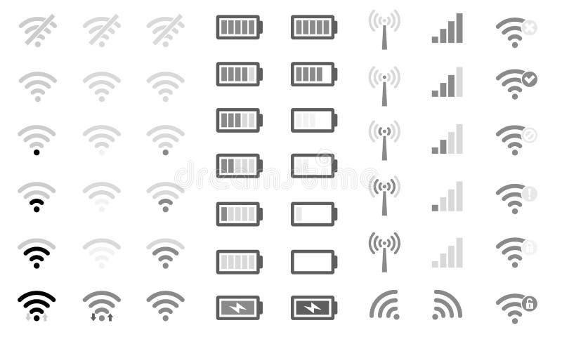Fuerza de señal de WiFi de los iconos del sistema de teléfono móvil, nivel de la carga de la batería y acceso remoto planos de la ilustración del vector