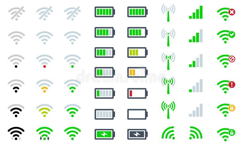 Fuerza de señal de WiFi de los iconos del sistema de teléfono móvil, nivel de la carga de la batería y acceso remoto planos de la libre illustration