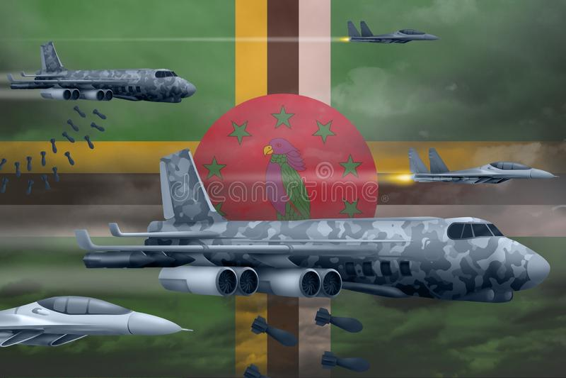 Fuerzas aéreas de Dominica que bombardean concepto de la huelga Los aviones de aire del ejército de Dominica caen bombas en fondo imagenes de archivo