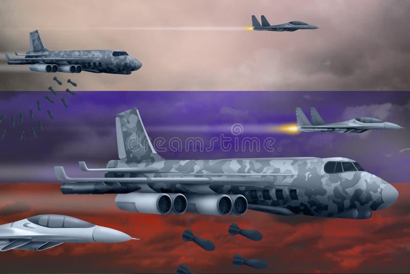 Fuerzas aéreas de Rusia que bombardean concepto de la huelga Los aviones de aire del ejército de Rusia caen bombas en fondo de la stock de ilustración