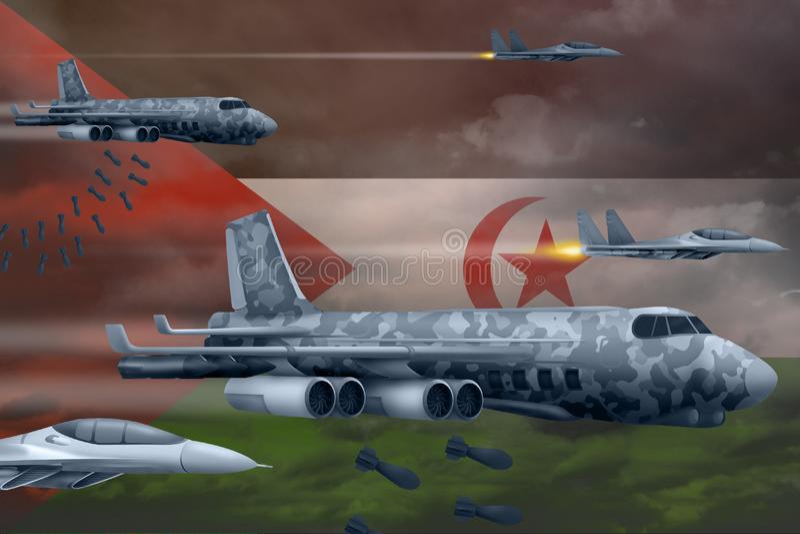 Fuerzas aéreas de Western Sahara que bombardean concepto de la huelga Los aviones de aire del ejército de Western Sahara caen bom imagen de archivo