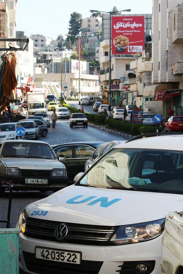 Fuerzas de seguridad de la O.N.U (Naciones Unidas) en la calle del pesebre, Belén foto de archivo libre de regalías
