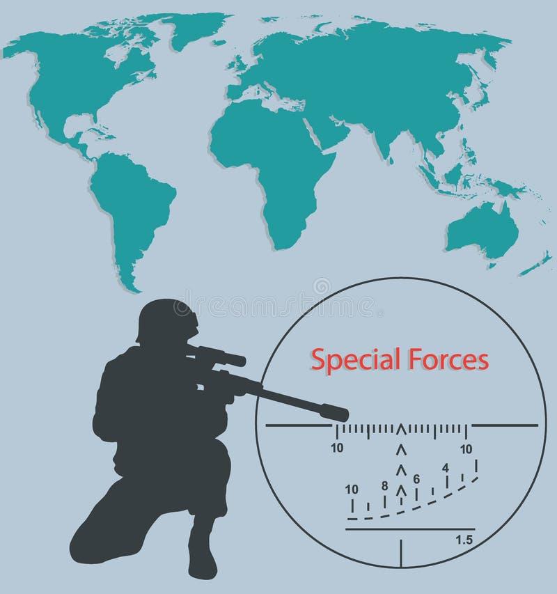 Fuerzas especiales del folleto, francotirador stock de ilustración