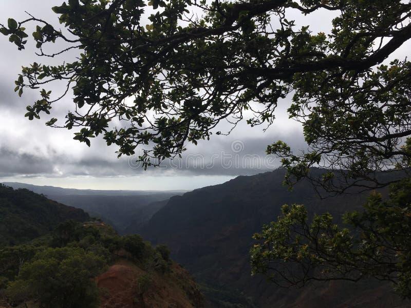 Fuga da garganta às quedas de Waipoo na garganta de Waimea no inverno na ilha de Kauai, Havaí foto de stock