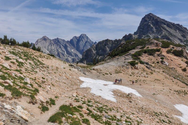 Fuga da garganta do pincel no parque nacional grande de Tetons, Wyoming, foto de stock