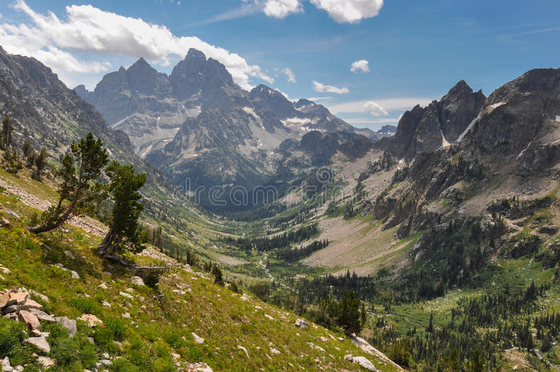 Fuga da garganta do pincel no parque nacional grande de Tetons, Wyoming, imagem de stock royalty free