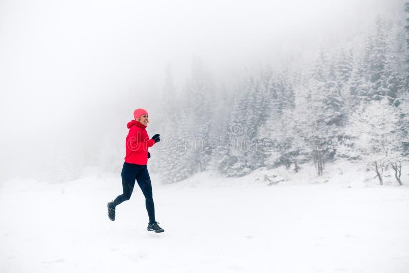 Fuga da menina que corre na neve em montanhas do inverno imagem de stock royalty free