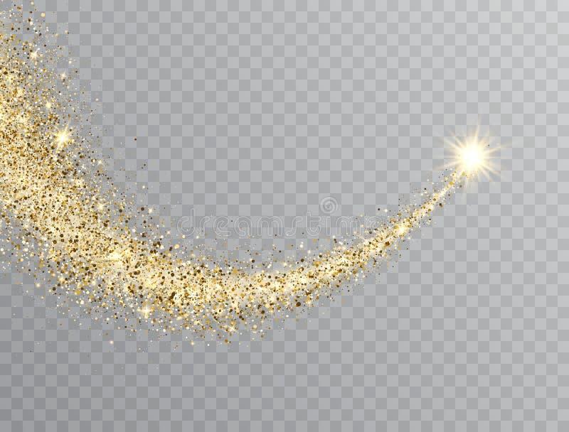 Fuga da poeira de estrela com partículas efervescentes do brilho no fundo transparente Cauda de brilho do cometa do espaço do our ilustração stock