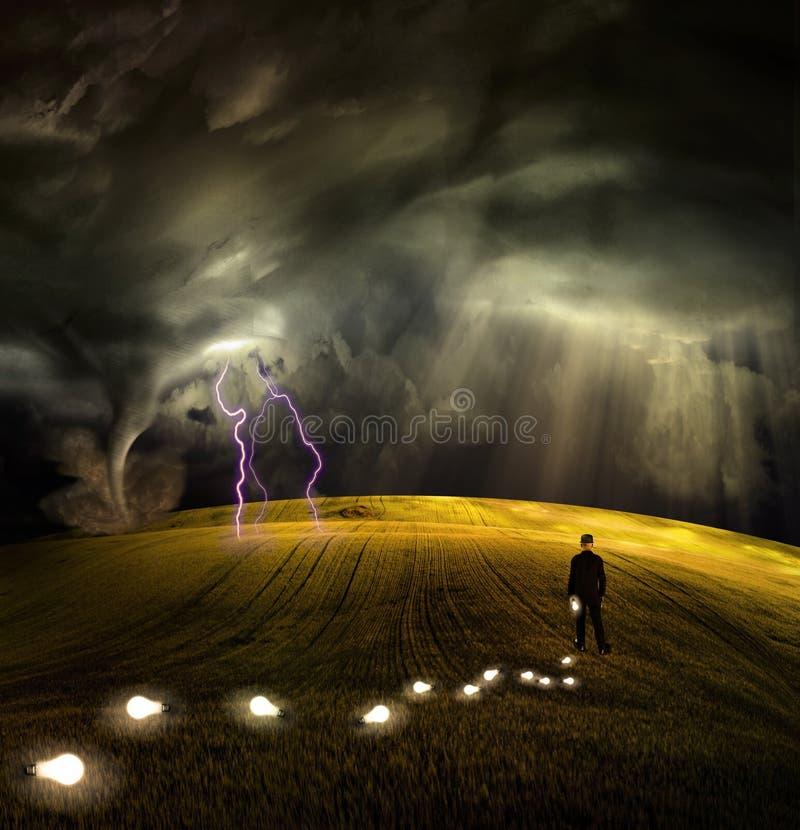 Fuga das folhas do homem das idéias ilustração do vetor