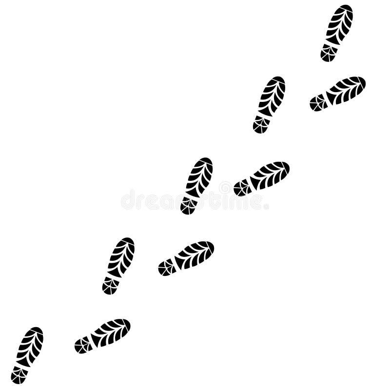 Fuga das sapatas Linha das pegadas Vetor ilustração royalty free