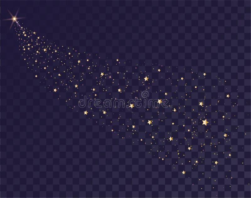 Fuga de brilho das estrelas do ouro do trenó de Santa Cauda do cometa no fundo transparente no céu escuro ilustração stock