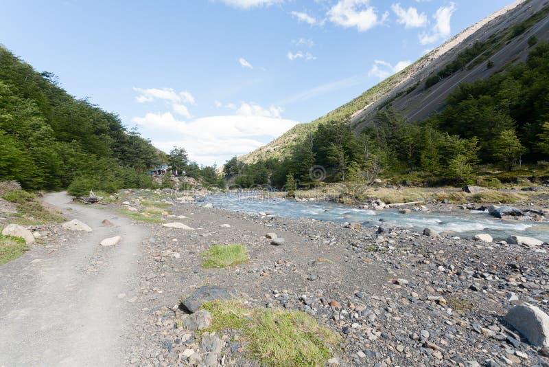 Fuga de caminhada do vale de Ascencio, Torres del Paine, o Chile fotografia de stock