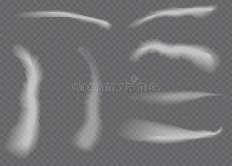Fuga de condensação do avião do vetor Fumo isolado no fundo transparente ilustração royalty free