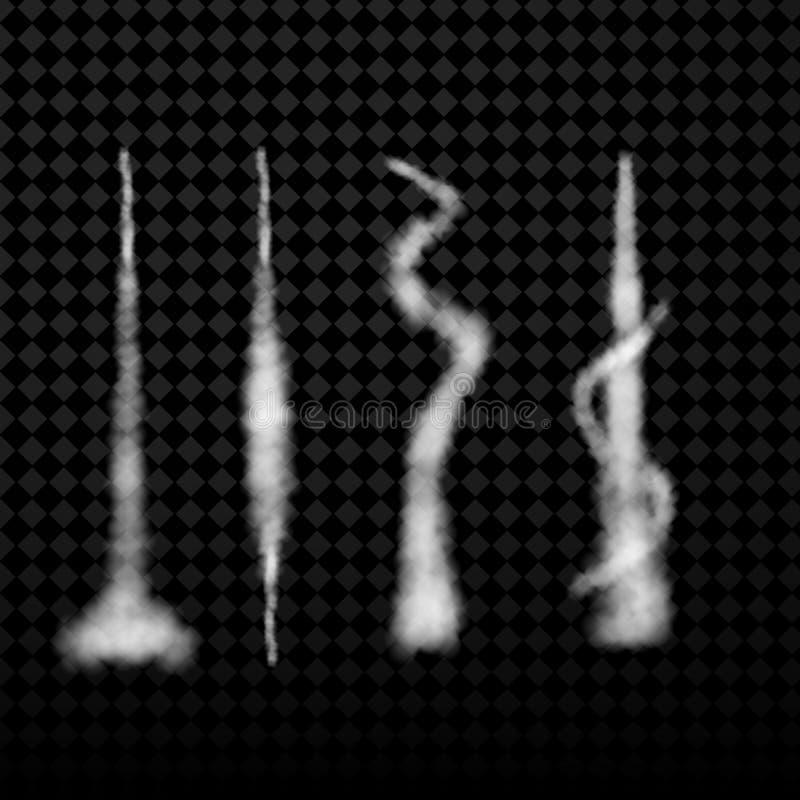 Fuga de condensação do avião do vetor Fumo no fundo transparente ilustração do vetor