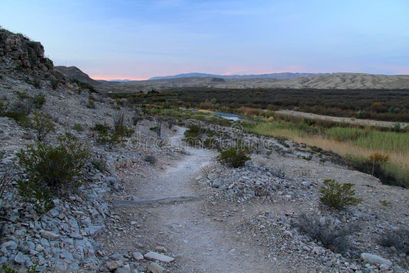 Fuga de Rio Grande Village Campground Nature na manhã fotografia de stock royalty free