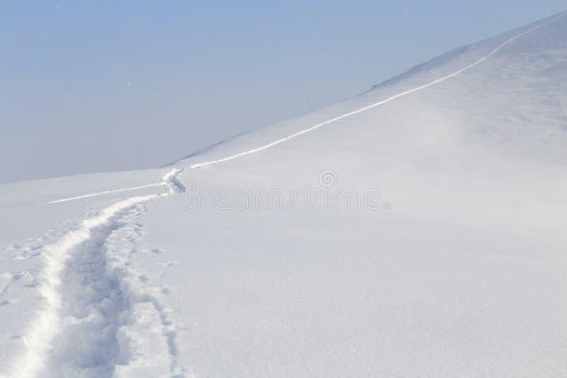 Fuga na neve nas montanhas fotografia de stock