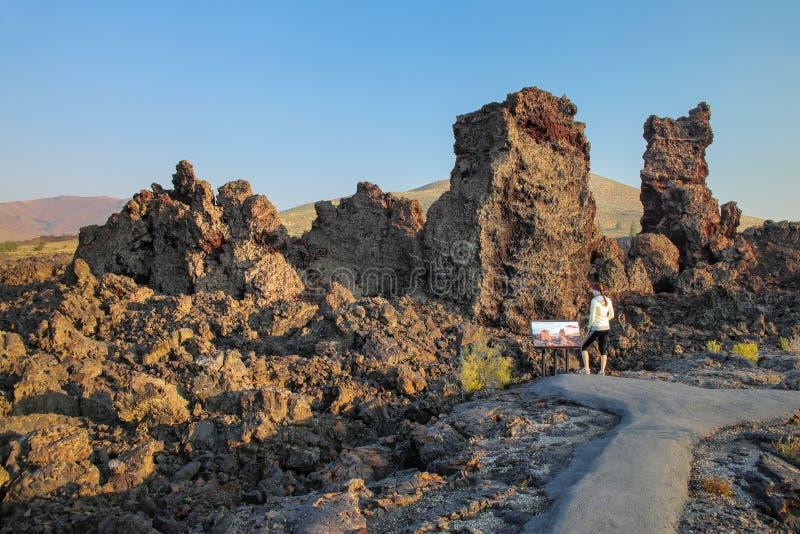 Fuga norte do fluxo da cratera, crateras do monumento nacional da lua, Idaho, EUA foto de stock