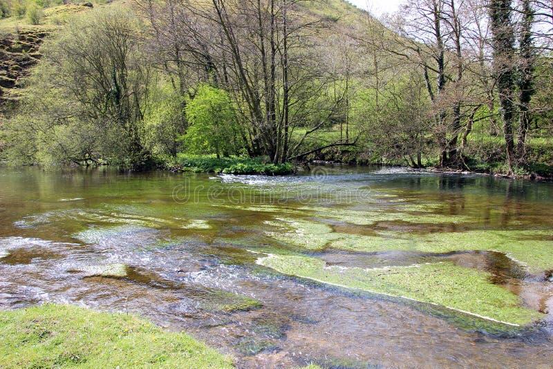 Fuga verde da água na cabeça Inglaterra de Monsal imagens de stock