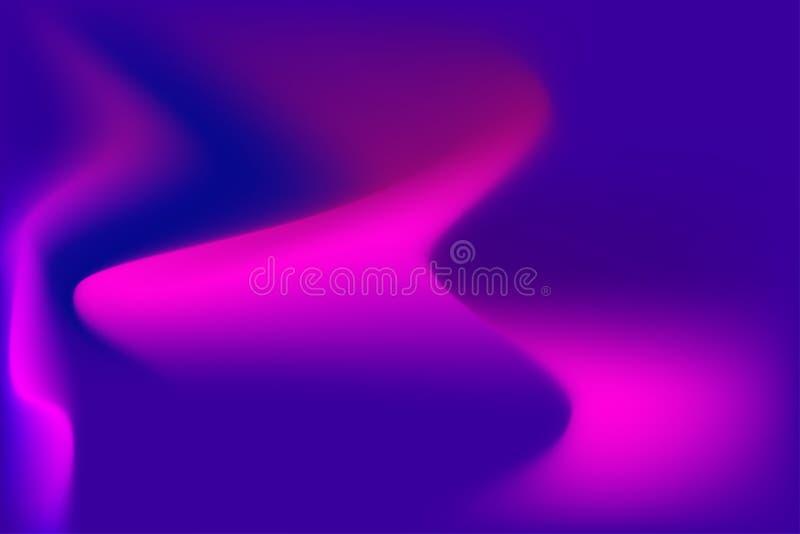 Fugas claras onduladas roxas do sumário no fundo azul ilustração royalty free
