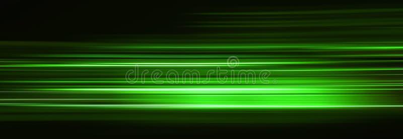 Fugas claras verdes do sumário na obscuridade, efeito do borrão de movimento ilustração stock