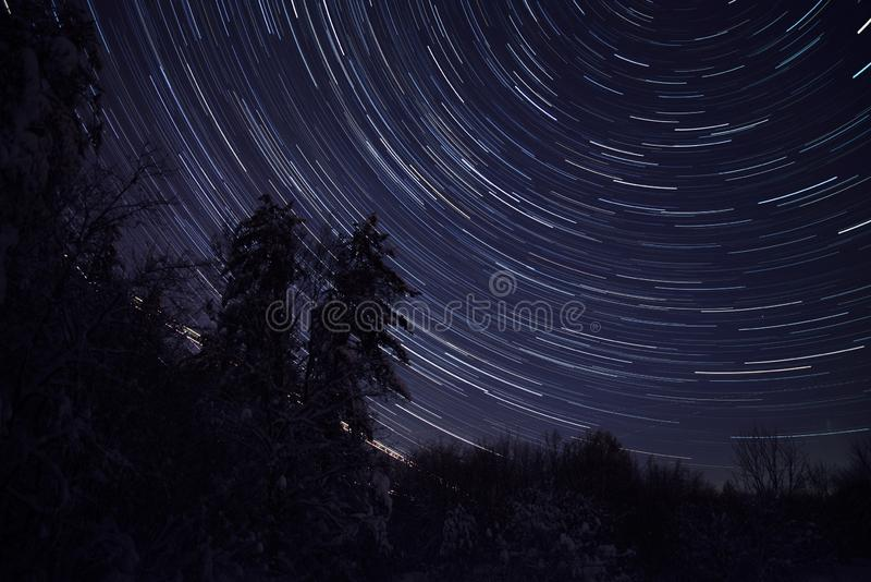 Fugas da estrela na noite na floresta congelada no inverno foto de stock royalty free
