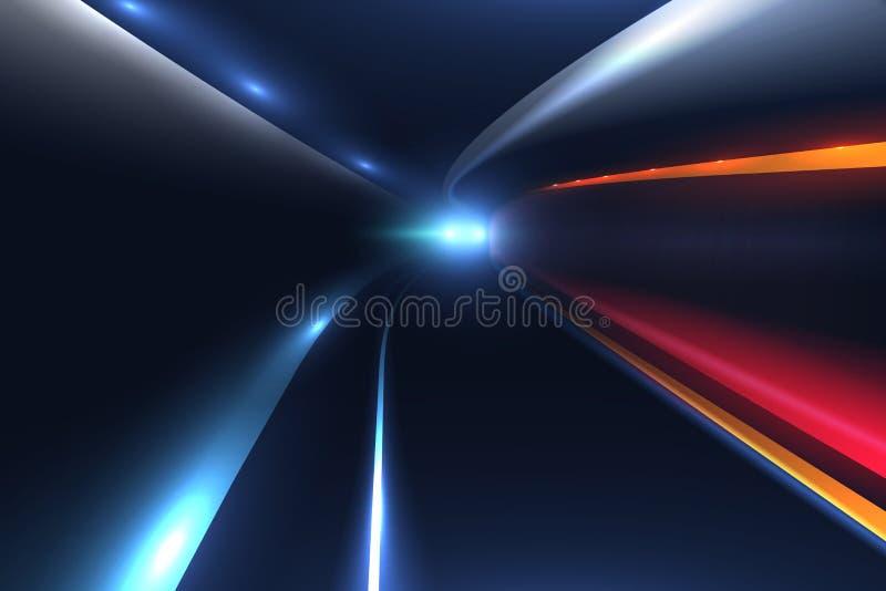 Fugas da luz do carro da estrada de cidade Fundo de alta velocidade do vetor ilustração stock